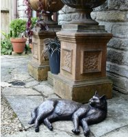 bronze cat garden ornament
