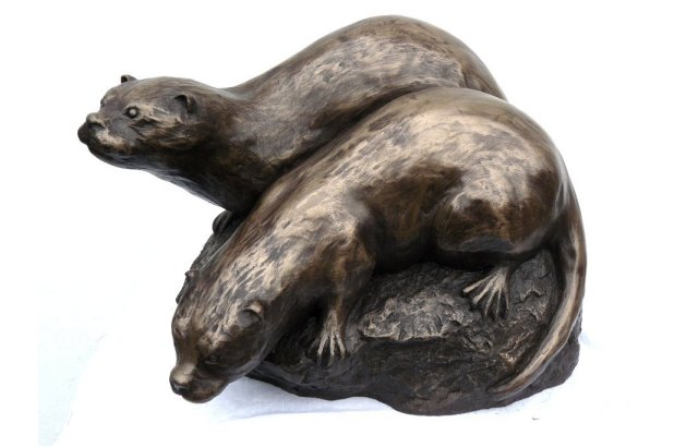 bronze otter sculpture